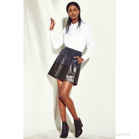 Vince Dresses & Skirts - Vince Colorblock Leather A-Line Mini Skirt